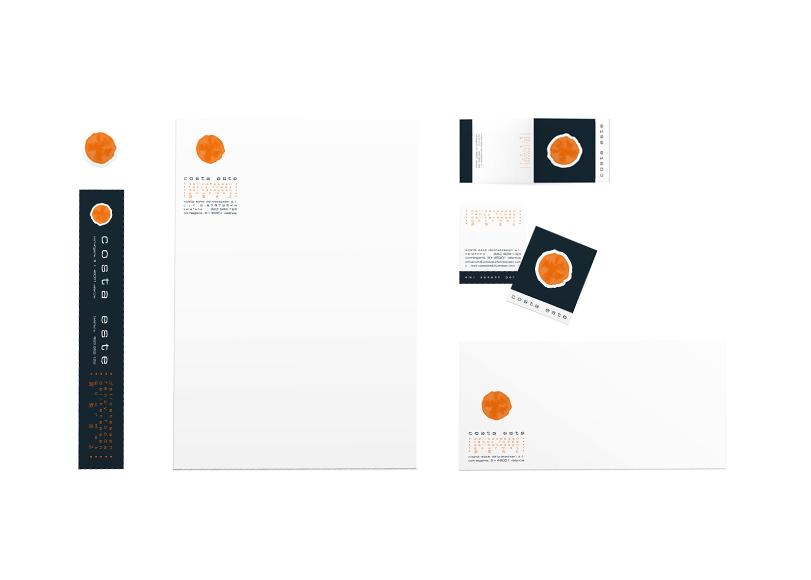 Costa Este - Ximo Roca Diseño. Diseño de identidad corporativa, papelería y material promocional para tienda de productos delicatessen y de regalos.