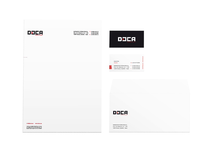 Doca - Ximo Roca Diseño. Diseño de identidad corporativa y papelería corporativa para empresa dedicada a mobiliario, ambientes de cocina, baños y armarios.