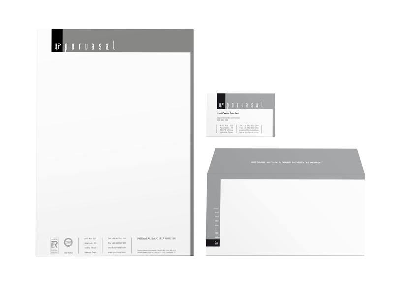 Porvasal - Ximo Roca. Diseño de identidad corporativa, Branding y papelería corporativa para empresa fabricantes de vajillas de porcelana para la hostelería