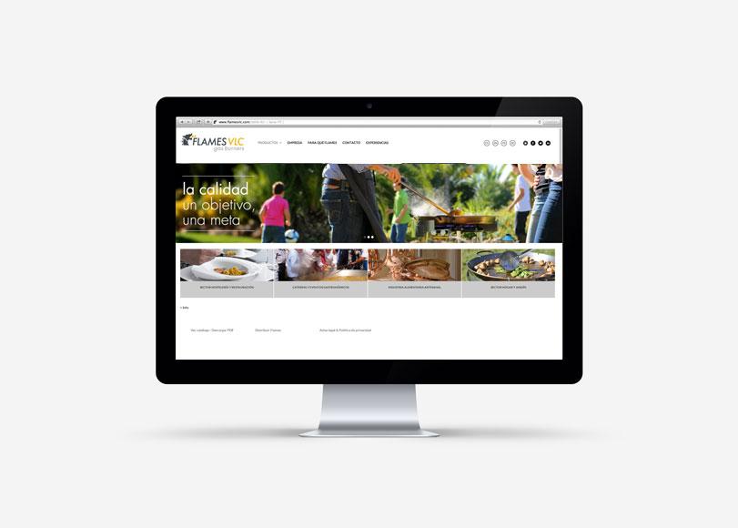 Flames - Ximo Roca Diseño. Diseño web responsive para la empresa Flames vlc dedicada a la creación de quemadores paelleros a gas industriales y domésticos.