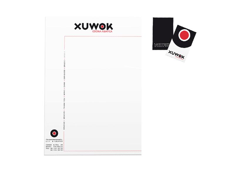 Xuwok - Ximo Roca Diseño. Diseño y desarrollo de identidad corporativa, material promocinal, papelería, branding para restaurante de cocina asiática.
