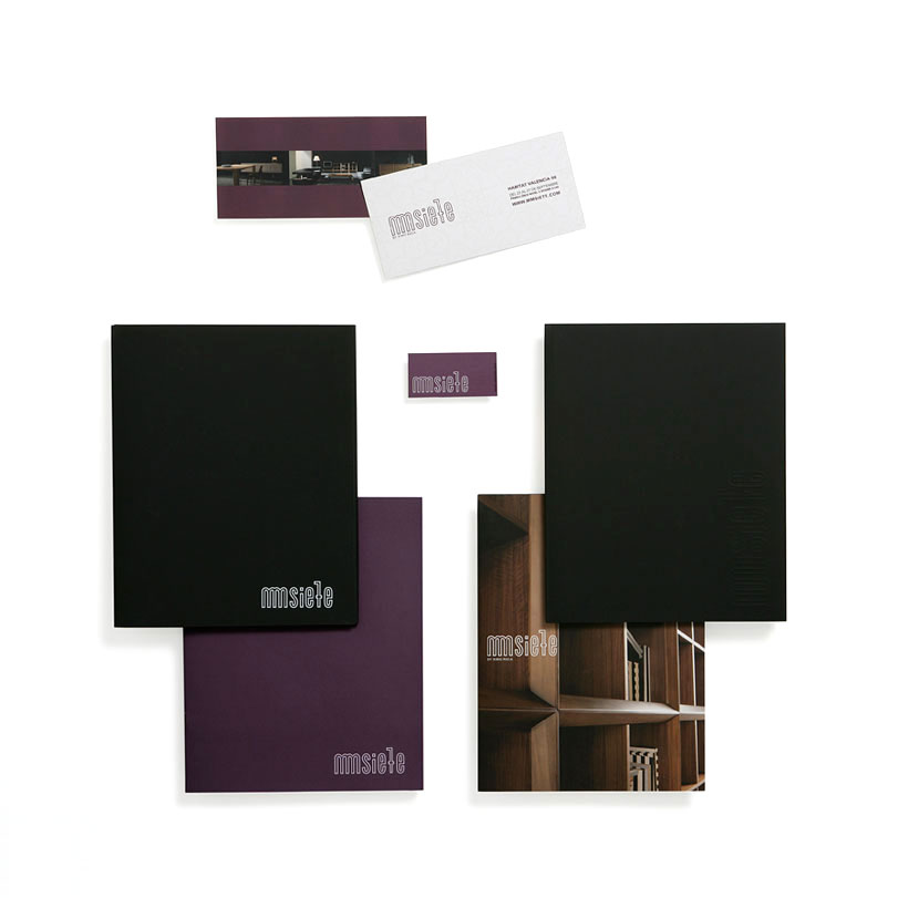 mmsiete - Ximo Roca Diseño. Diseño de identidad corporativa, papeleria corporativa, material promocional para empresa dedicada al diseño y elaboración de muebles
