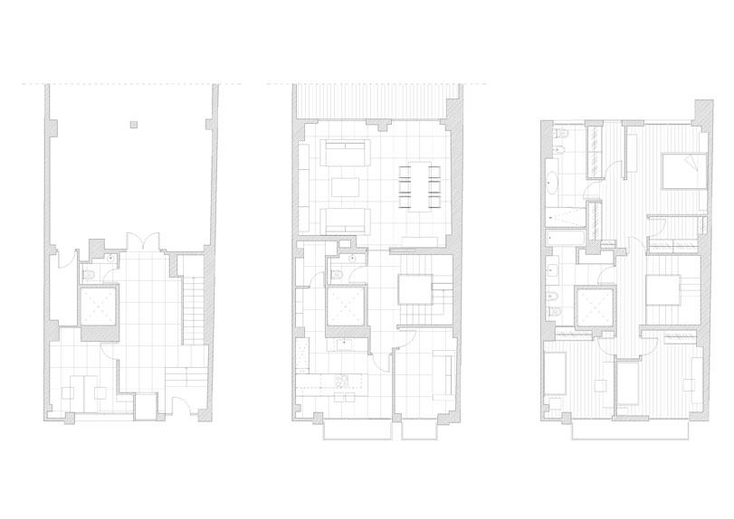La vivienda unifamilar de 3 alturas está situada en las proximidades de Valencia. El espacio interior de la vivienda se articula por medio de un vacio central donde está situada la comunicación vertical. La zona de día está situada en la planta primera . El salón comedor está conectado a una gran terraza. La zona de noche está en su totalidad ubicada en la segunda planta. Instalación de mobiliario y complementos.