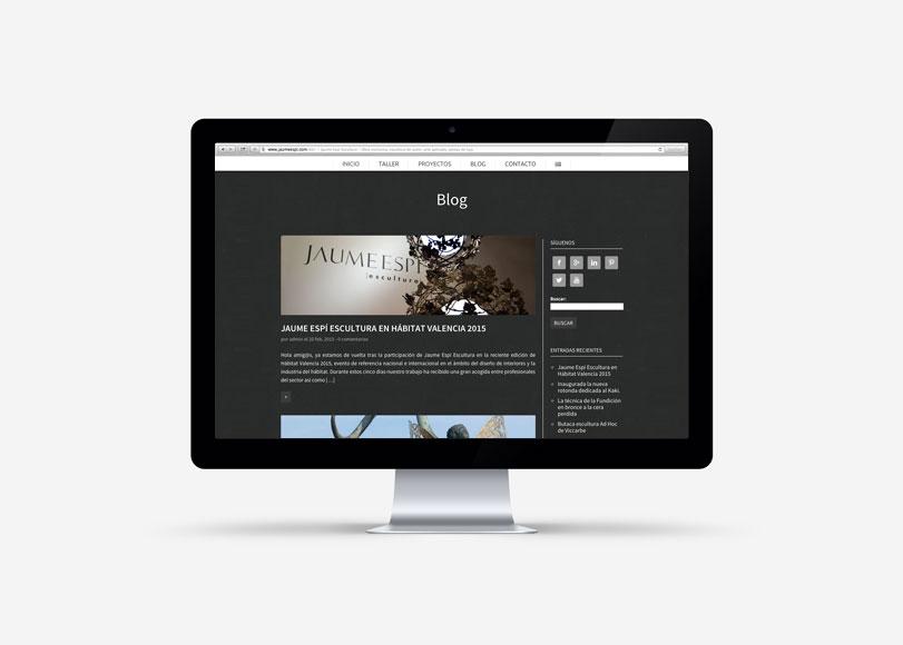 Jaume Espí Escultura - Ximo Roca Diseño. Diseño y desarrollo web responsive, para empresa dedicada a la reproducción en bronce a la cera perdida