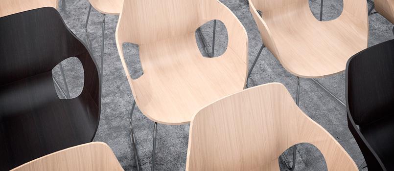 Colección de sillas de uso polivalente, funcional y versátil que la hace apropiada para todo tipo de espacios y proyectos