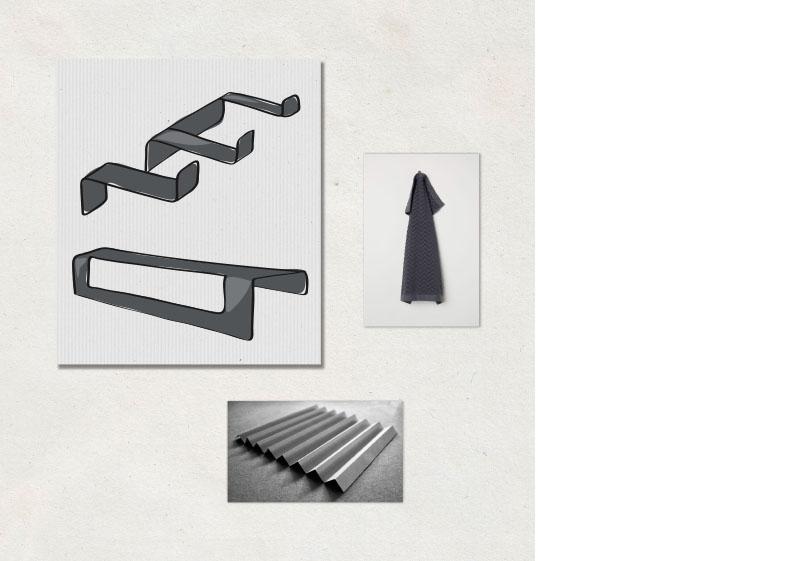 Complementos para el baño de gran ligereza visual. Algunos elementos de la colección se han podido resolver de forma singular con un sencillo plegado de plancha de aluminio.