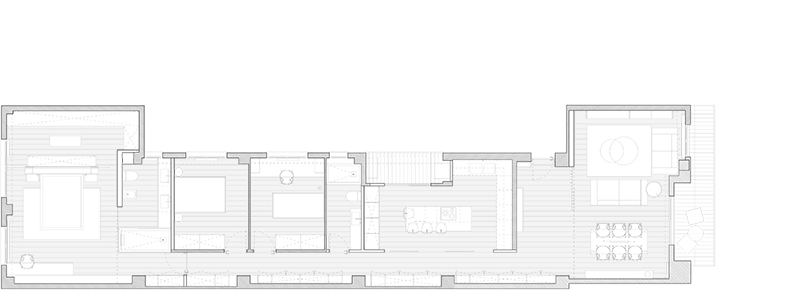 Se trata de una reforma parcial de una vivienda situada en un edificio característico del ensanche de Valencia. Era un reto intentar solucionar la distribución de esta vivienda situada en un tipo de edificio con una alta profundidad de bloque. Para ello tanto la elección de materiales y tonalidades de éstos, como la iluminación lineal indirecta del pasillo, ayudan a reducir esa sensación provocando una atmósfera relajada. En la zona de acceso se sitia la zona del día y la zona de noche está situada a continuación en la parte trasera de la vivienda, iluminada y ventilada a través de un patio interior del edificio y un patio de manzana. Las paredes, techo, puertas y parte del mobiliario son blancos. Mientras que el color y las texturas aparecen en la madera de roble del suelo y la gama de grises en el resto de mobiliario. La estructura del edificio queda oculta en el mobiliario.