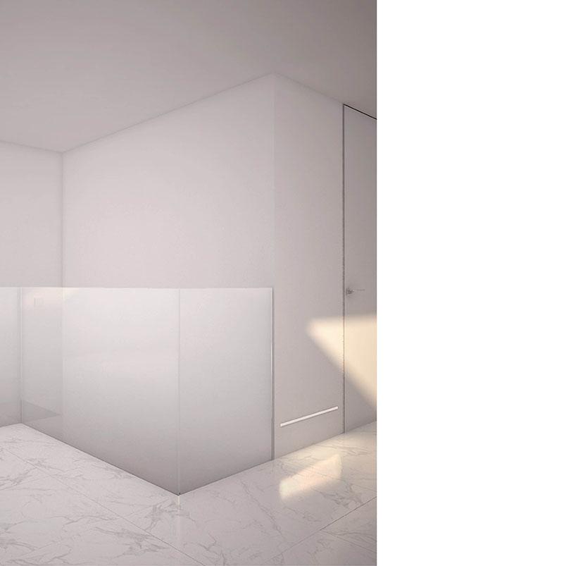 Se trata de una reforma parcial de un apartamento de dos plantas ubicado próximo a la costa. Pretendemos potenciar al máximo la organización del espacio, suprimiendo la tabiquería existente y generando un espacio continuo en el que un elemento bifacial articula e independiza la zona de noche. Toda la zona de dia está conectada ampliando así las visuales de la vivienda. En planta baja se situa la zona de dia y el dormitorio principal. En la primera planta se situan el resto de dormitorios. La vivienda recae sobre tres terrazas, parte fundamental de la vida de la vivienda y todas las estancias reciben ventilación y luz natural. Las paredes, techos y suelo son blancos y armonizan con la calidez de la luz natural y artificial. Cabe destacar el elemento separador azul de la zona de noche y día