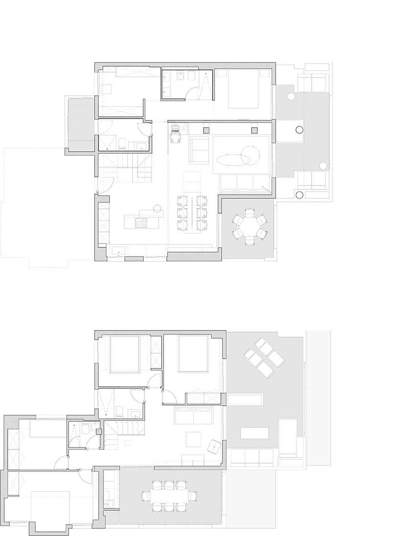 Se trata de una reforma parcial de un apartamento de dos plantas ubicado próximo a la costa. Pretendemos potenciar al máximo la organización del espacio, suprimiendo la tabiquería existente y generando un espacio continuo en el que un elemento bifacial articula e independiza la zona de noche. Toda la zona de dia está conectada ampliando así las visuales de la vivienda. En planta baja se situa la zona de dia y el dormitorio principal. En la primera planta se situan el resto de dormitorios. La vivienda recae sobre tres terrazas, parte fundamental de la vida de la vivienda y todas las estancias reciben ventilación y luz natural. Las paredes, techos y suelo son blancos y armonizan con la calidez de la luz natural y artificial. Cabe destacar el elemento separador azul de la zona de noche y día.